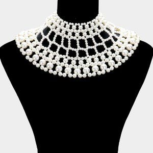 Cream Pearl Beaded Collar Bib Necklace